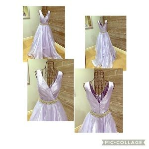 Dresses & Skirts - Lavender satin and sheer ball gown. Size 2